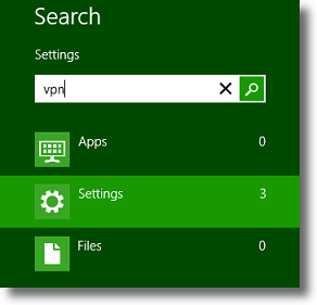 Windows 8 Search Settings for VPN