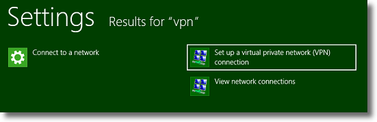 Windows 8 select VPN connection setup
