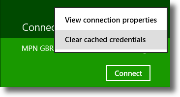Windows 8 clear saved VPN credentials
