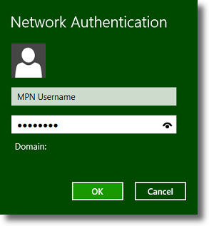 Windows 8 enter MPN VPN credentials