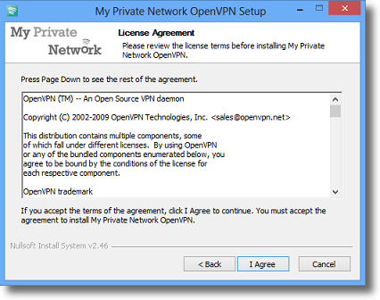 Windows 8.1 OpenVPN License Agreement page