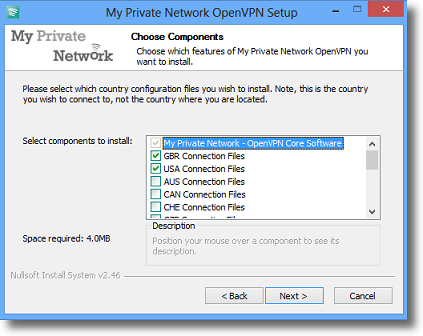 Windows 8.1 OpenVPN Choose country configuration