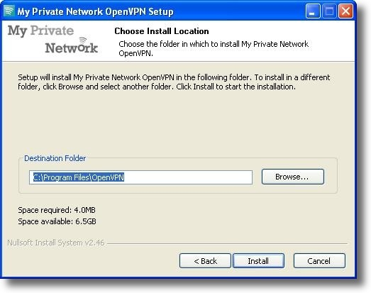 Microsoft Windows XP OpenVPN installation directory