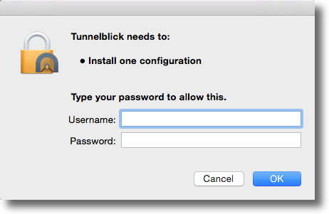 mac osx yosemite install tunnelblick configuration security warning