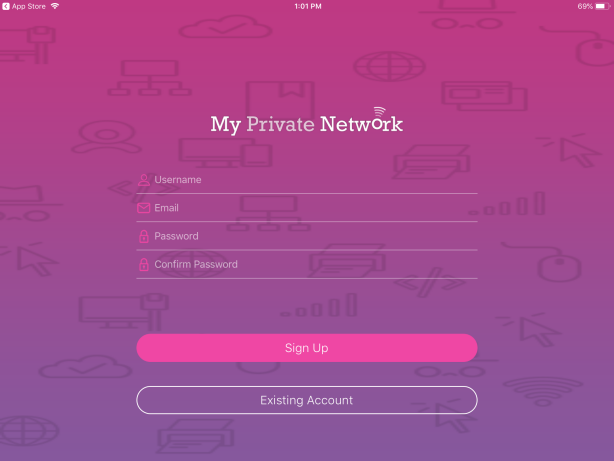 iOS iPad Login page