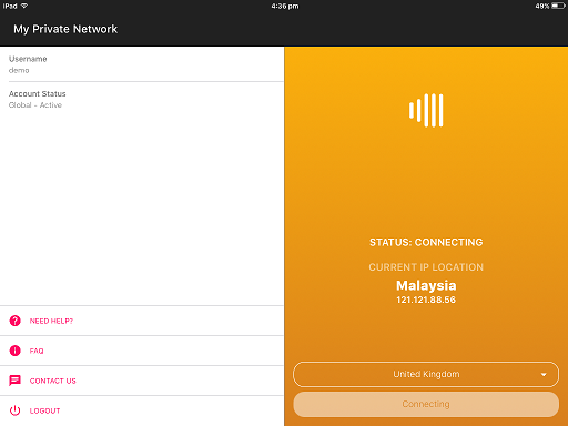 VPN connecting screen on the Apple iPad VPN app