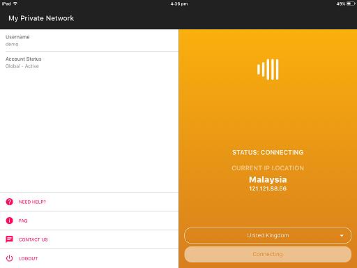 VPN connecting screen on the Apple iPad VPN app