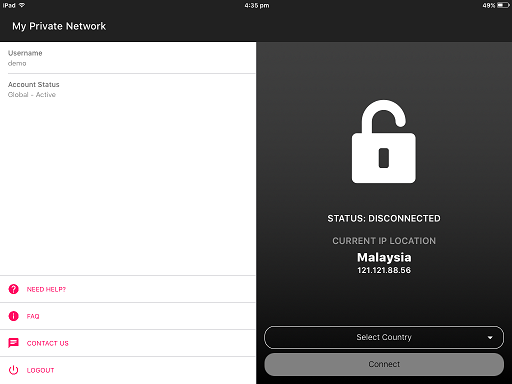 main screen on the Apple iPad VPN app