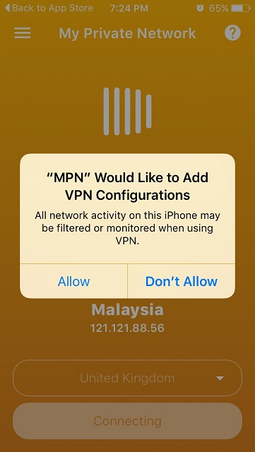 install vpn config via iphone app