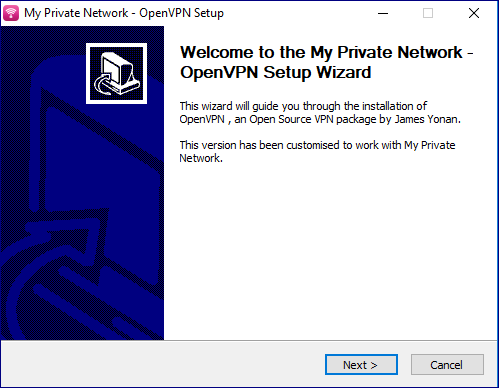 This is the starting screen of the OpenVPN installer