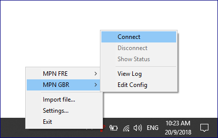 Selecting MPN Country to connect