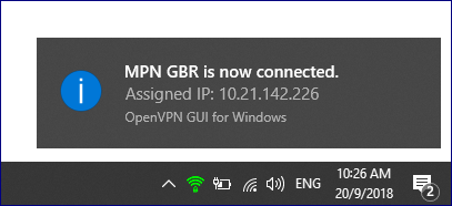 MPN VPN Successful connection notification