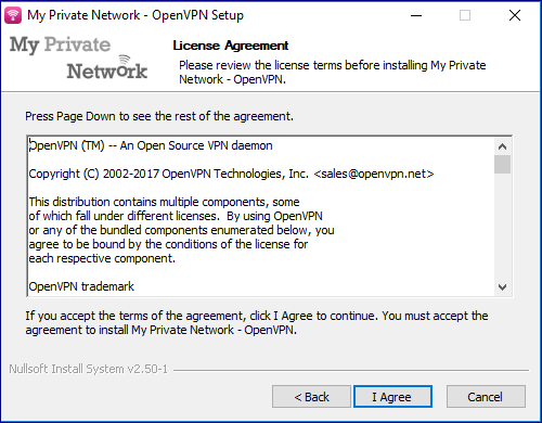The License Terms displayed in the installer.