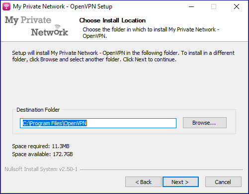Select location to install OpenVPN.