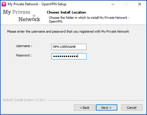 Enter your MPN VPN username and password