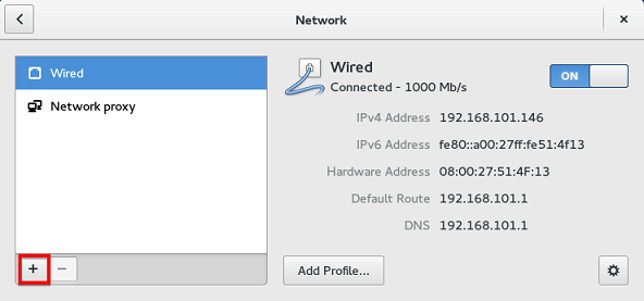 Fedora add network connection