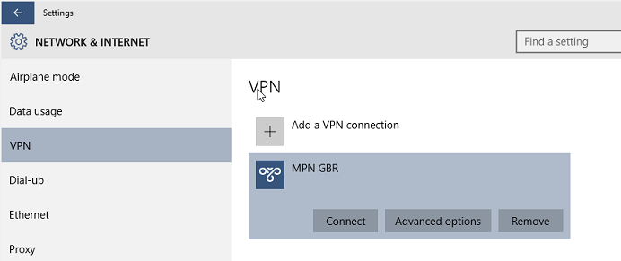 Windows 10 Connecting to VPN