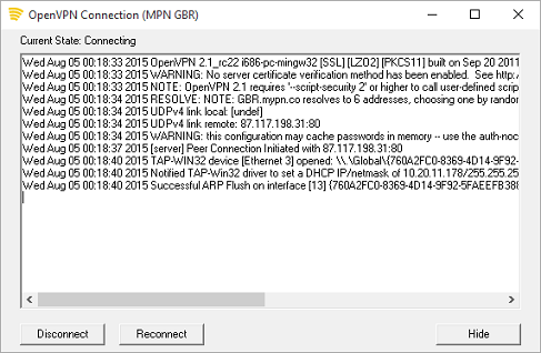 MPN OpenVPN Connecting Status and Log