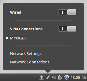 linux mint PPTP VPN connected