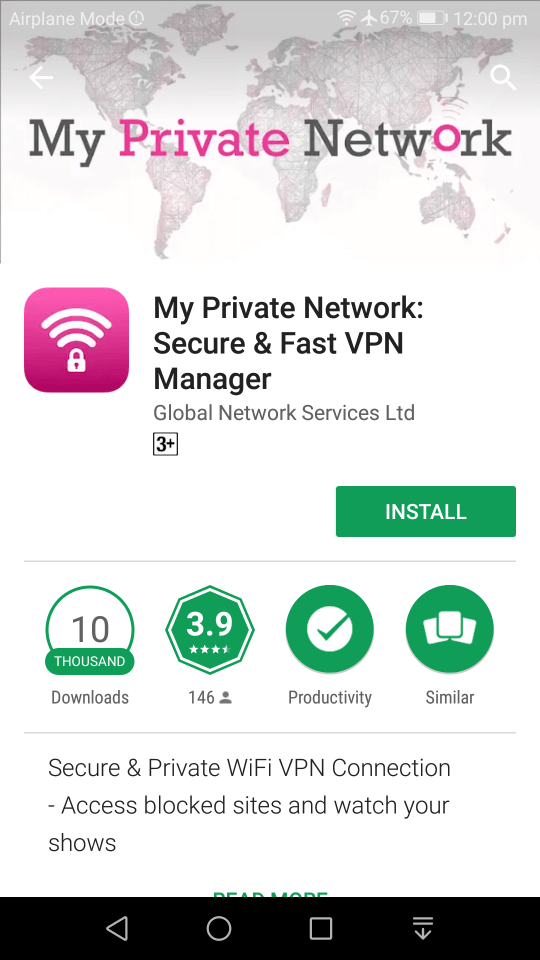 VPN App on PlayStore