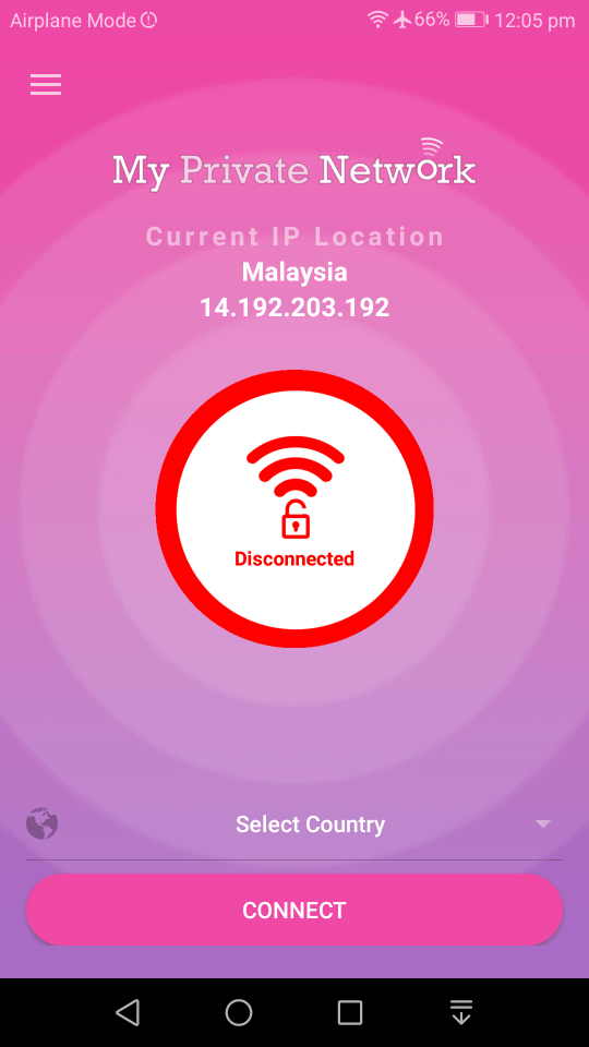 MPN Android VPN App Status Screen