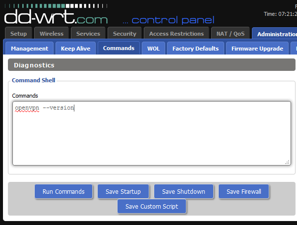 check OpenVPN version on DD-WRT