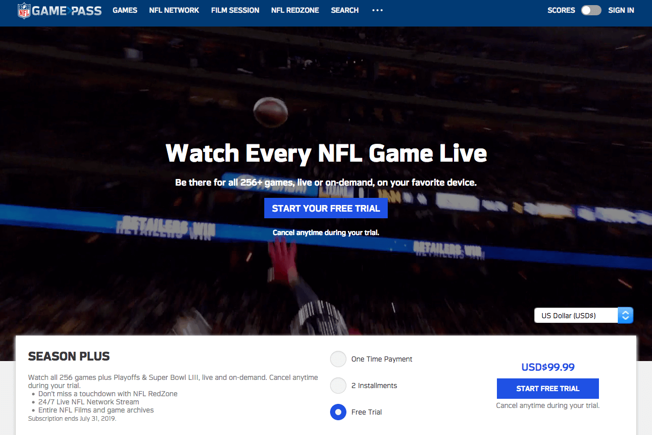NFL Game Pass India