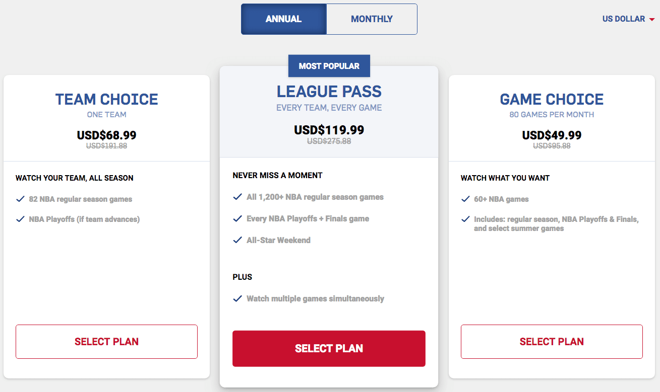Popular NBA League Pass deals and discount codes