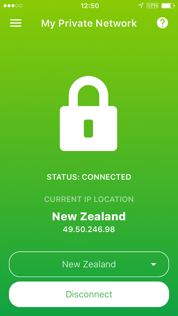 VPN connected status screen on the iPhone App