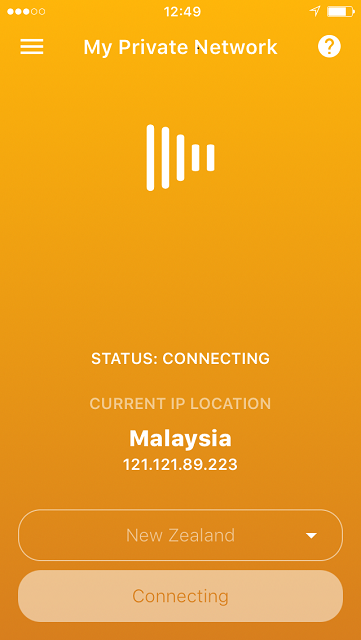 Connecting status on the iPhone VPN App