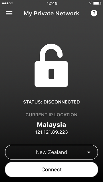 Disconnected screen of the iPhone VPN app