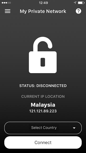 iPhone VPN App Main screen