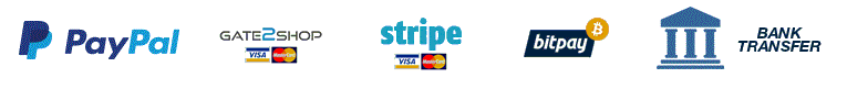 Payment Methods - PayPal, Gate2Shop,Stripe, BitPay, Bank Transfer