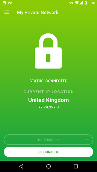 My Private Network Android VPN App Connected to the server successfully
