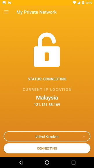 My Private Network Android VPN App Connecting to the server