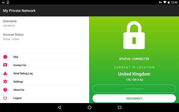 MPN VPN App connected status on tablet