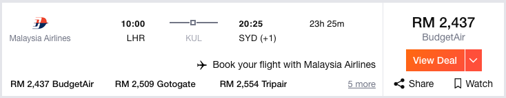 Kayak Flight Malaysia