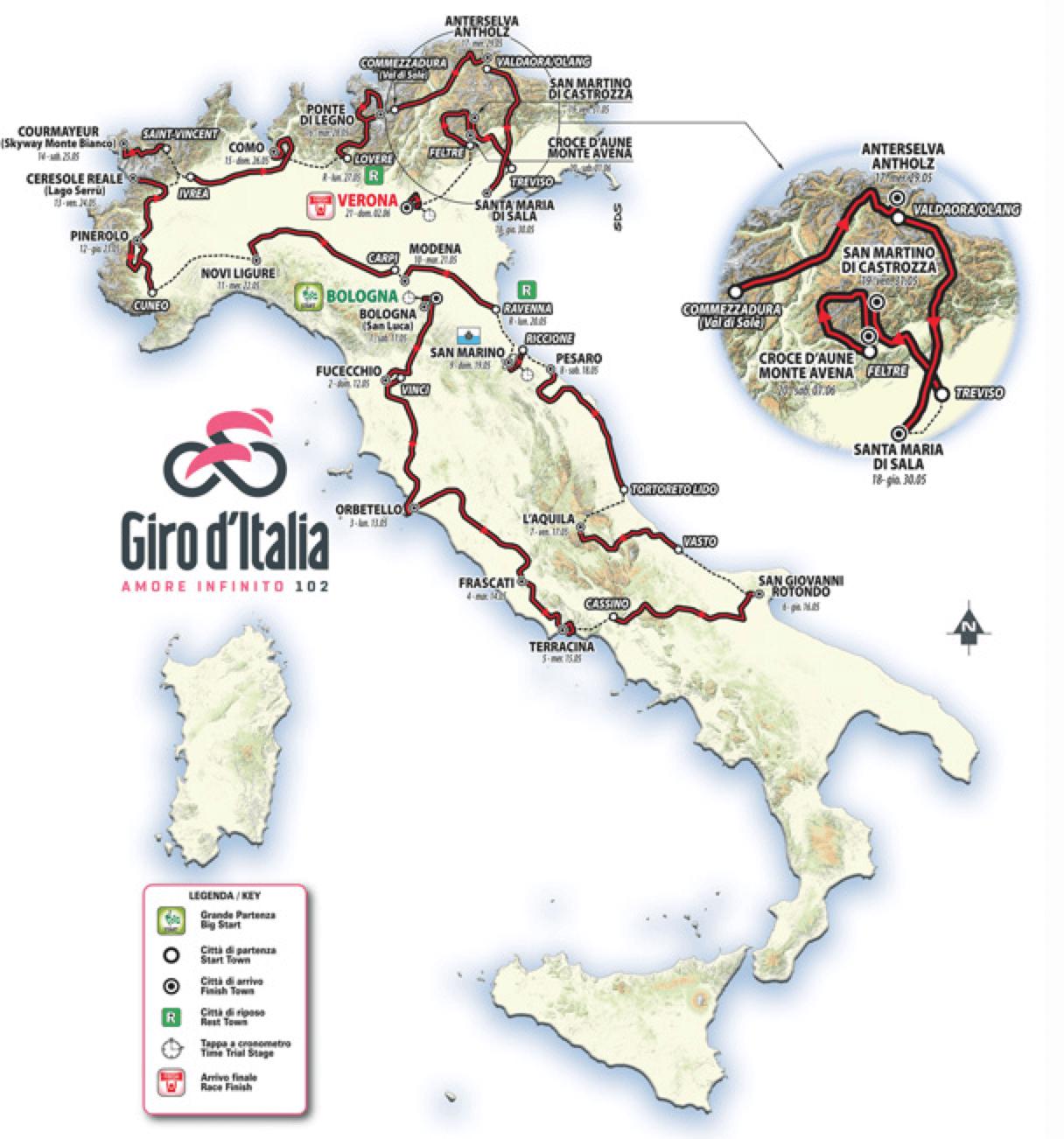Giro d'Italia Map 2019