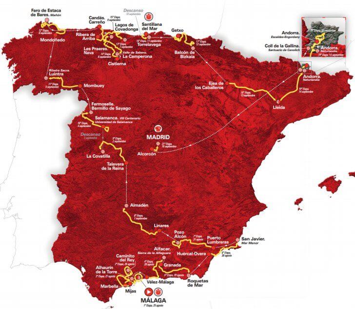 Vuelta a Espana 2018 Map
